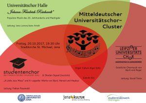 Flyer für das Konzert mit den Unichören aus Halle und Leipzig, als Motiv drei sich überlappende Kreise mit den Logos der drei teilnehmenden Chöre